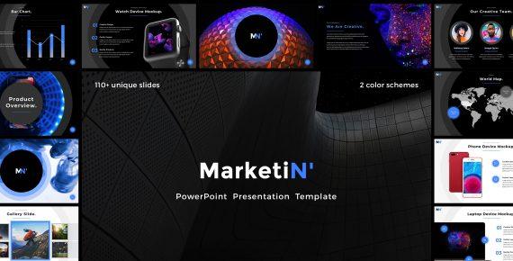 marketin' – powerpoint presentation template screenshot 1