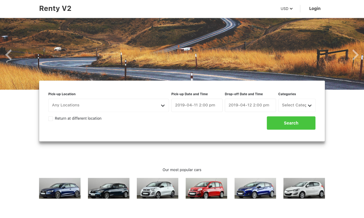 renty v2 – car rental & booking wordpress theme screenshot 1