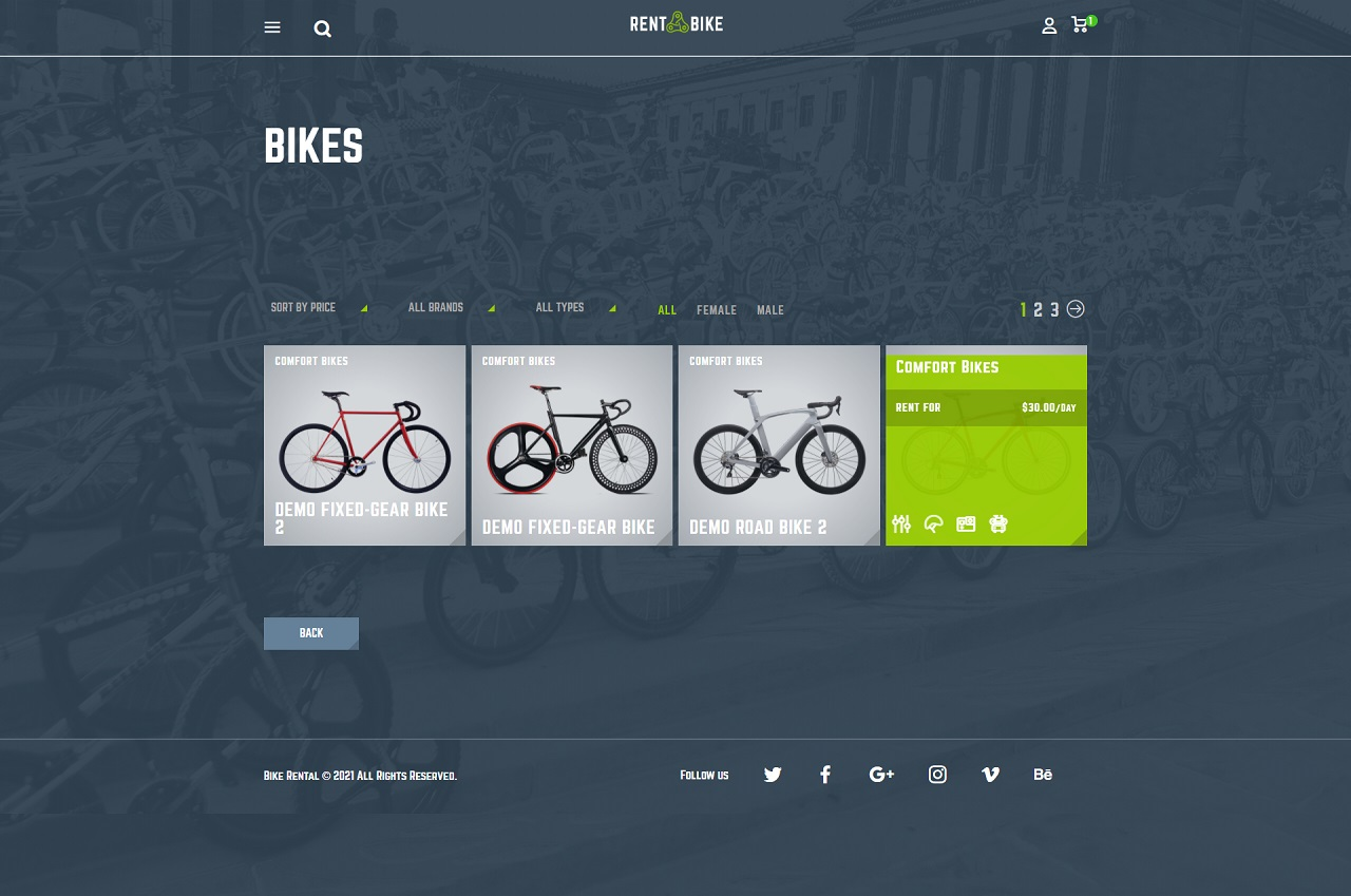 rent a bike – bike rental wordpress theme screenshot 2